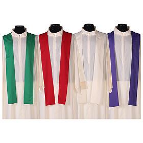 Kasel aus ultraleichtem Polyester, 4 Farben, mit Stickerei verziertes Kreuz, SONDERANGEBOT s9