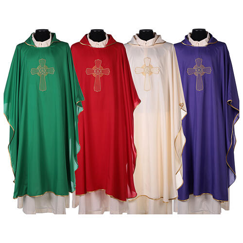 Ultralight Polyester chasuble with cross embroidery OFFER 1