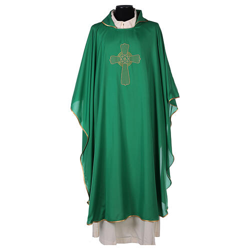 Ultralight Polyester chasuble with cross embroidery OFFER 3