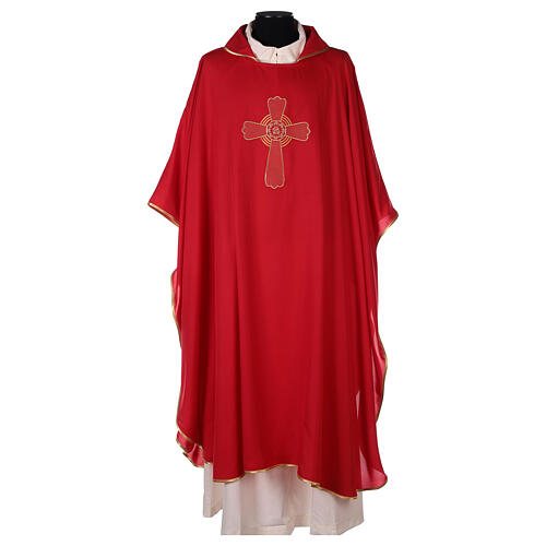 Ultralight Polyester chasuble with cross embroidery OFFER 4