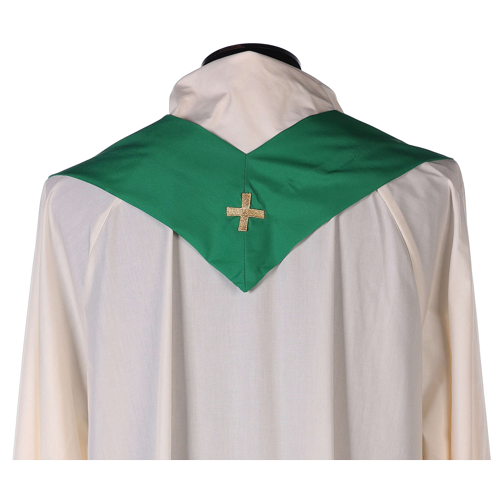 Casulla poliéster bordado cruz decorada 4