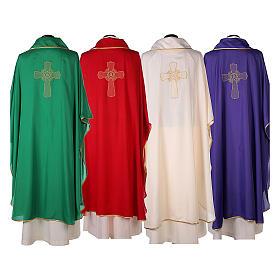 Chasuble polyester broderie croix décorée PROMO s14