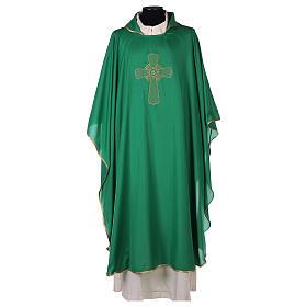 Chasuble polyester broderie croix décorée PROMO s3