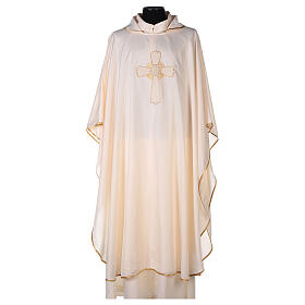 Chasuble polyester broderie croix décorée PROMO s5