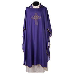 Chasuble polyester broderie croix décorée PROMO s6