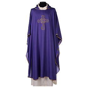 Ultralight Chasuble in polyester cross embroidery s6