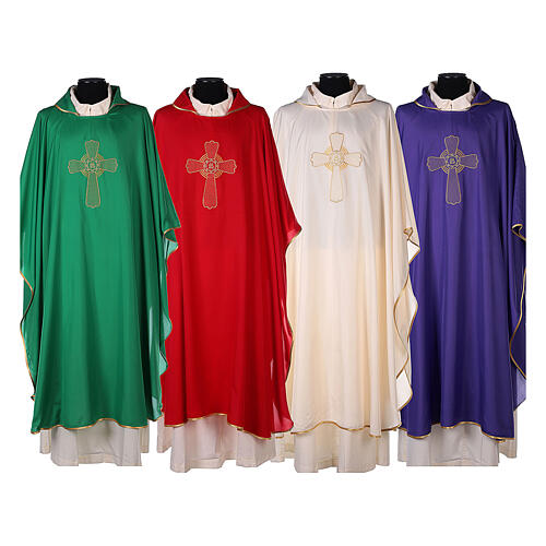 Ultralight Chasuble in polyester cross embroidery 1