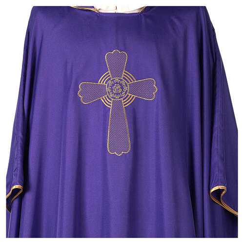 Ultralight Chasuble in polyester cross embroidery 2