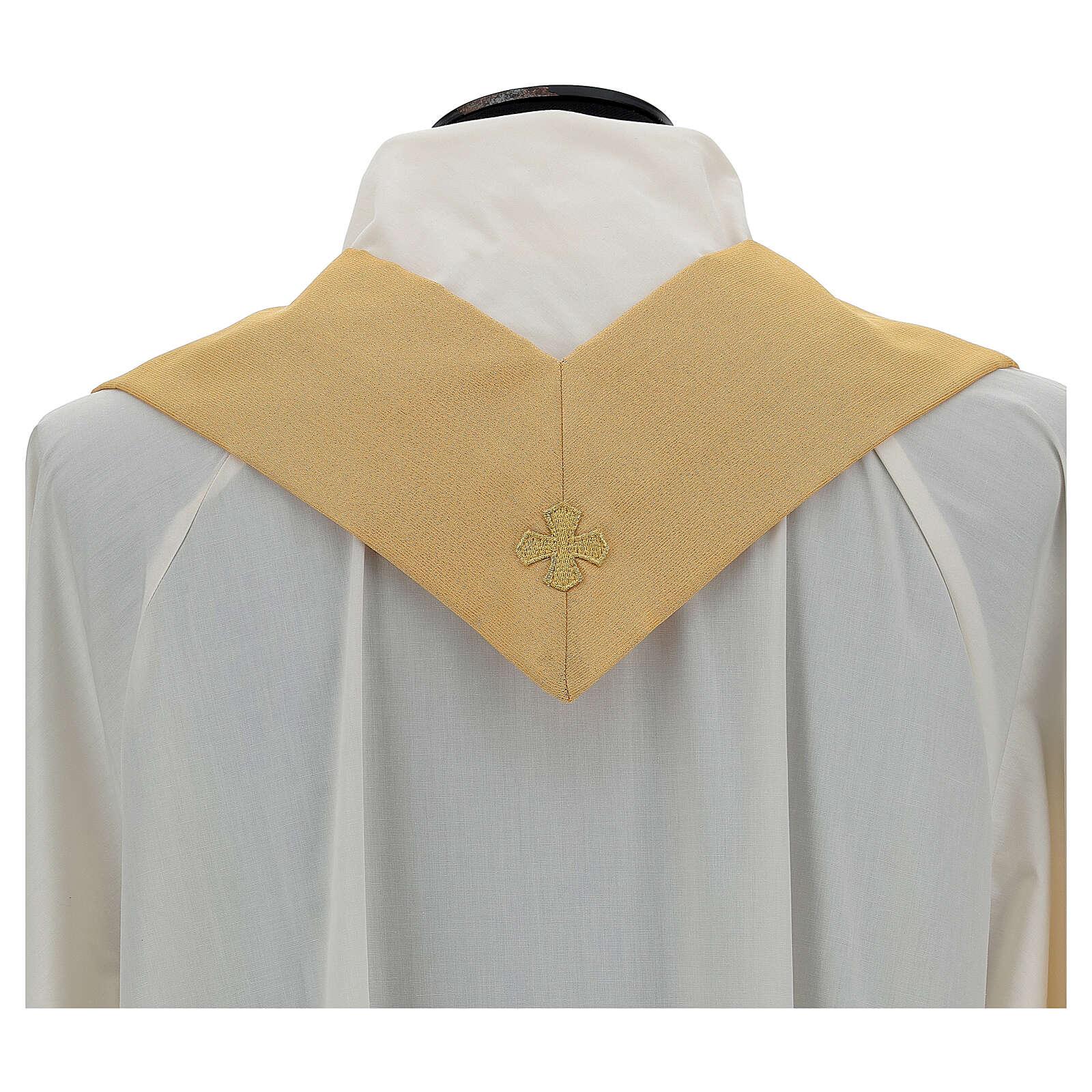 Casulla oro lamé de poliéster y lana con entorchado parte anterior y posterior 4