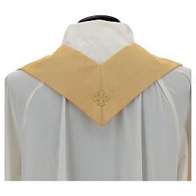 Casulla oro lamé de poliéster y lana con entorchado parte anterior y posterior s6