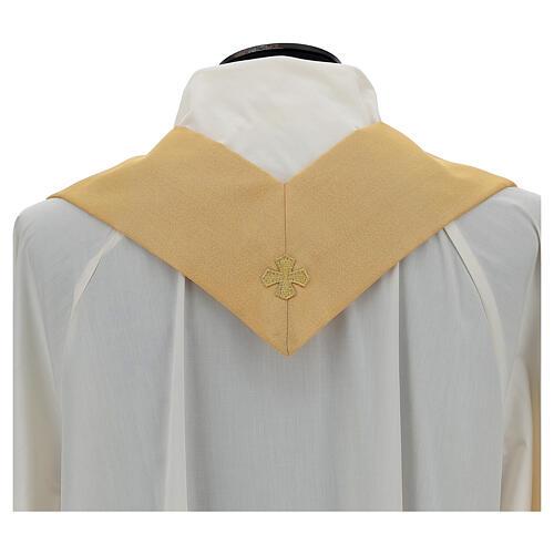 Casulla oro lamé de poliéster y lana con entorchado parte anterior y posterior 6