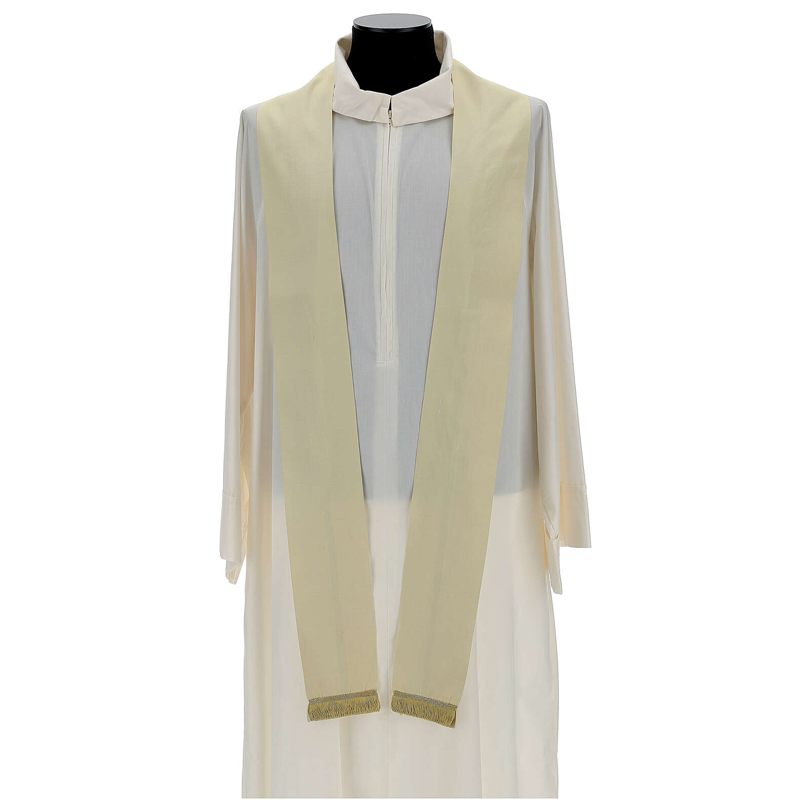 Ivory silk chasuble with applied gallons 4