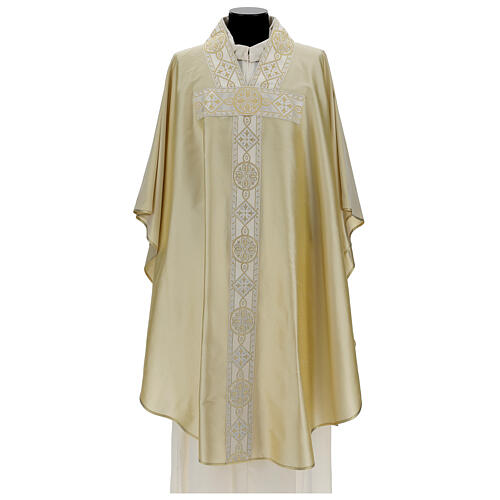 Ivory silk chasuble with applied gallons 1