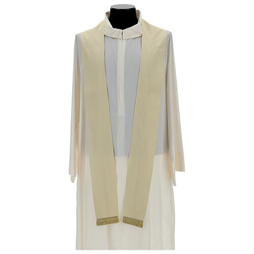 Ivory silk chasuble with applied gallons 6