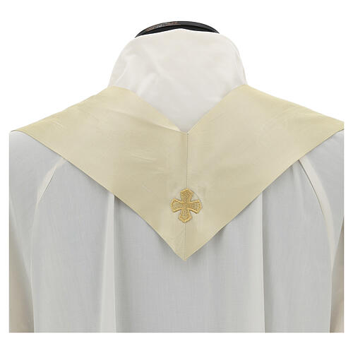 Ivory silk chasuble with applied gallons 7