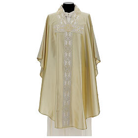 Ivory chasuble in pure silk with gallon s1