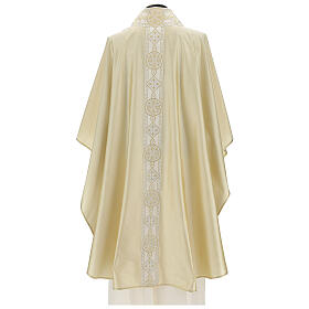 Ivory chasuble in pure silk with gallon s4