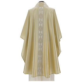 Ivory chasuble in pure silk with gallon s5