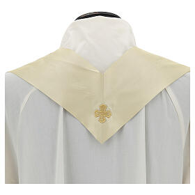 Ivory chasuble in pure silk with gallon s7