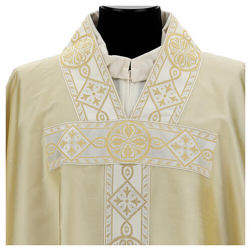 Ivory chasuble in pure silk with gallon 2