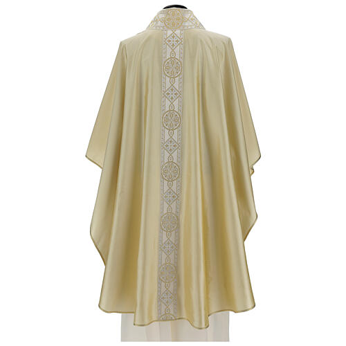 Ivory chasuble in pure silk with gallon 5