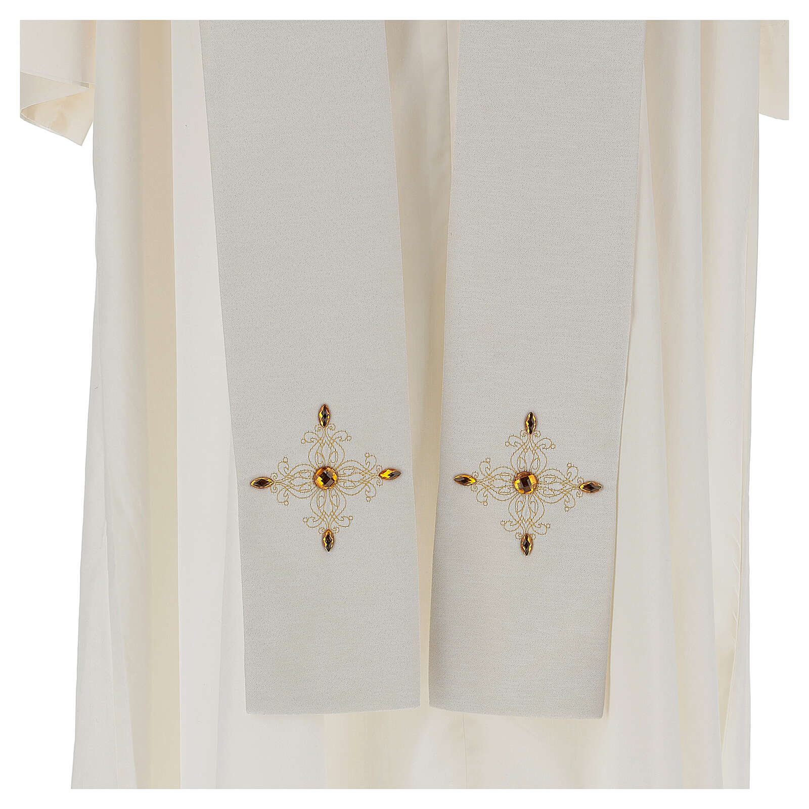 Chasuble 100% polyester décorations broderie applications or écru Édition Limitée 4