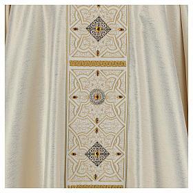 Chasuble 100% polyester décorations broderie applications or écru Édition Limitée s2