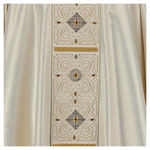 Chasuble 100% polyester décorations broderie applications or écru Édition Limitée 2