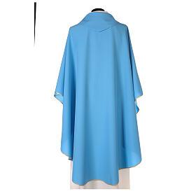 Plain Light blue chasuble in 100% polyester s3
