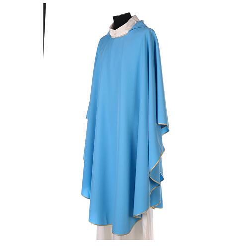 Plain Light blue chasuble in 100% polyester 2