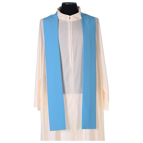 Plain Light blue chasuble in 100% polyester 4