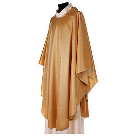 Plain gold chasuble, 100% polyester without embroidery s2
