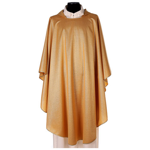 Plain gold chasuble, 100% polyester without embroidery 1