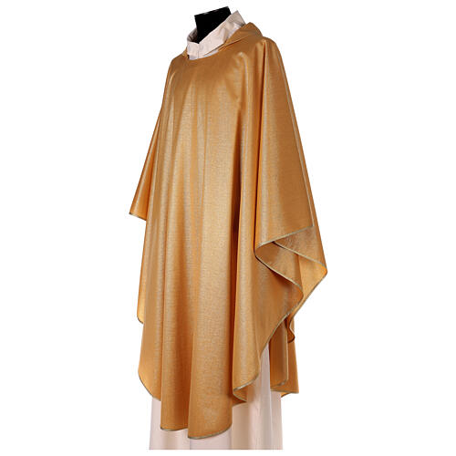 Plain gold chasuble, 100% polyester without embroidery 2