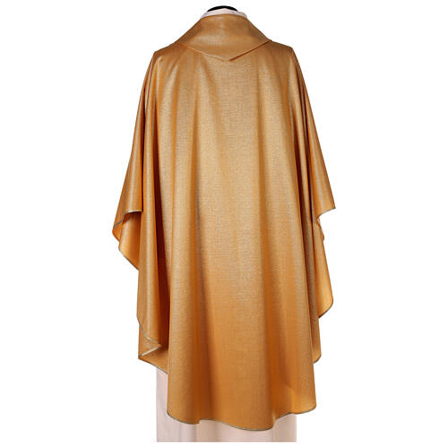 Plain gold chasuble, 100% polyester without embroidery 3