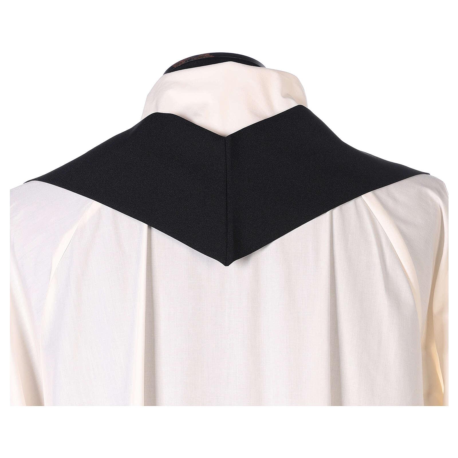 Casulla monocolor negra simple 100% poliéster 4