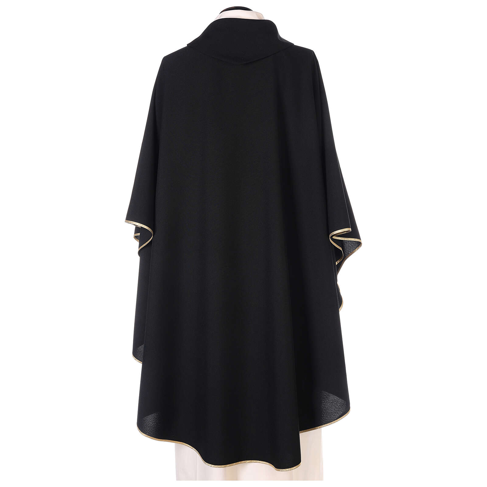 Chasuble noire unie 100% polyester simple 4