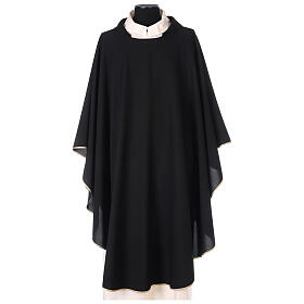 Chasuble noire unie 100% polyester simple s1
