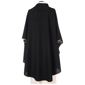 Chasuble noire unie 100% polyester simple s3