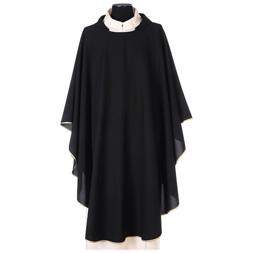 Chasuble noire unie 100% polyester simple 1