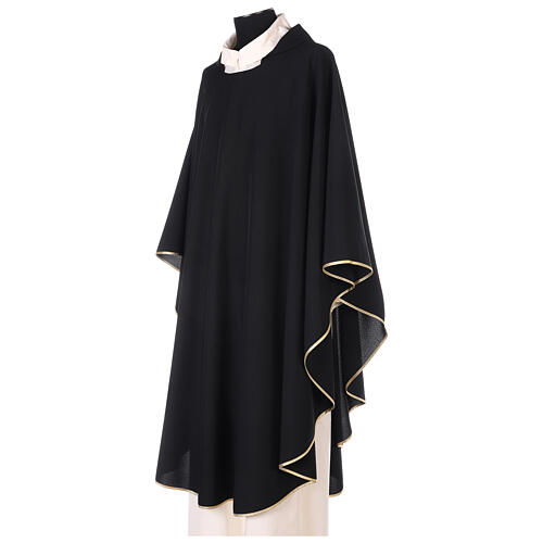 Chasuble noire unie 100% polyester simple 2