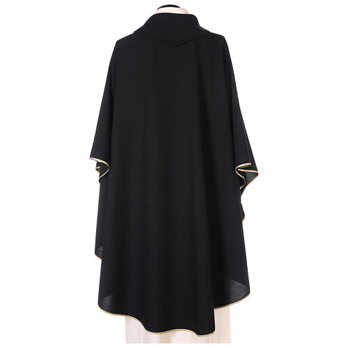 Chasuble noire unie 100% polyester simple 3
