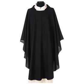 Plain black chasuble, 100% polyester s1