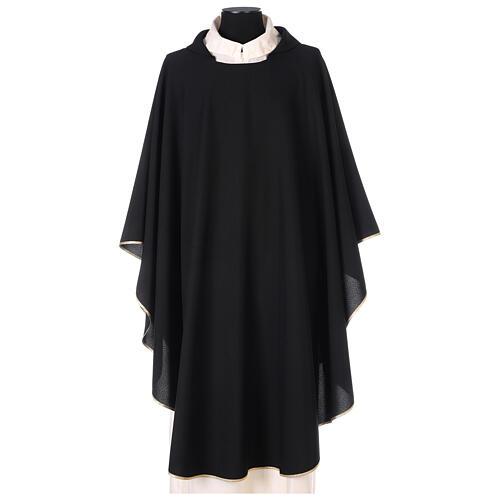 Plain black chasuble, 100% polyester 1