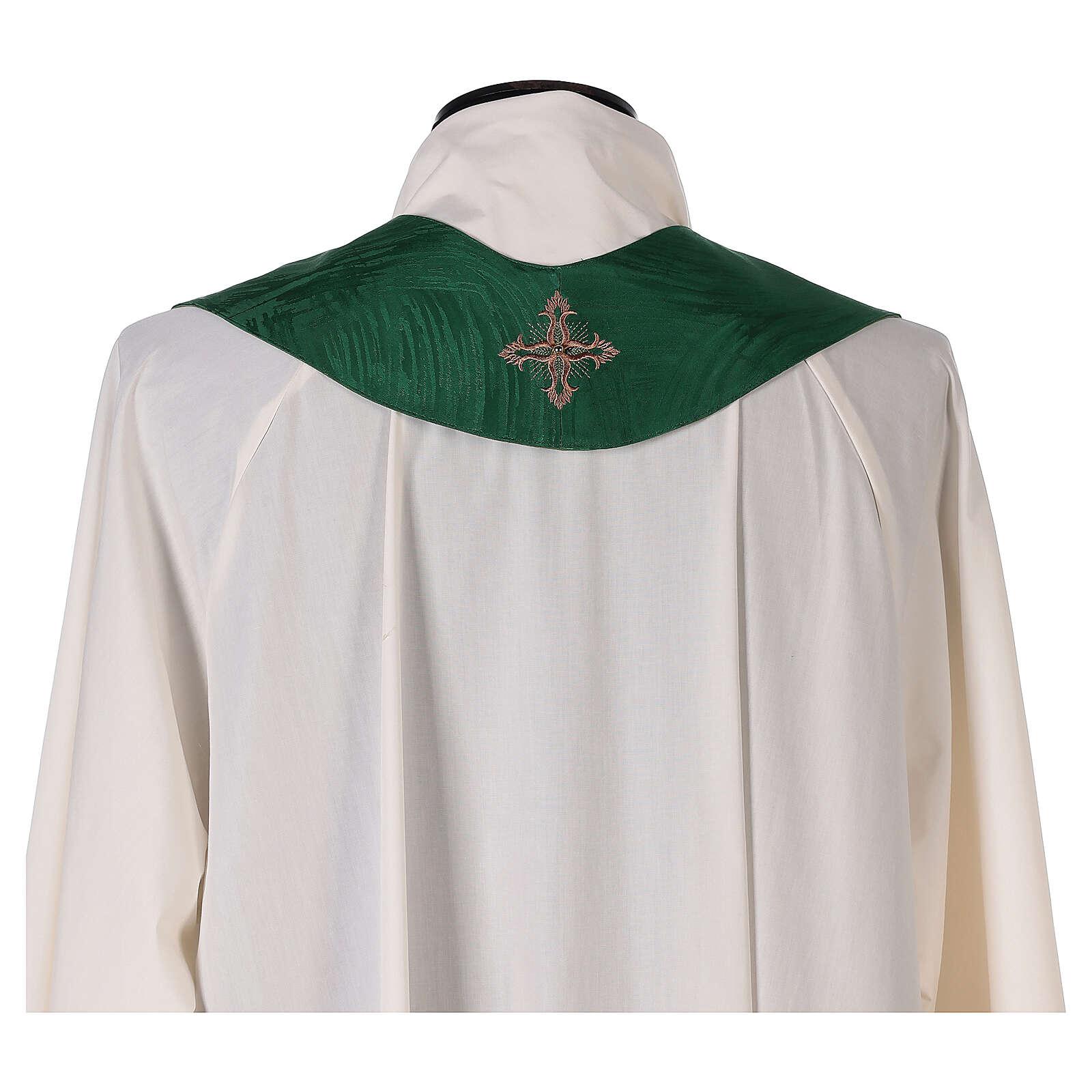 Priest chasuble in acetate viscose agremanistitch work Swarovski machine embroidery 4
