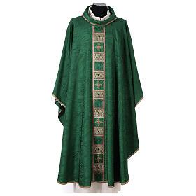Priest chasuble in acetate viscose agremanistitch work Swarovski machine embroidery s1