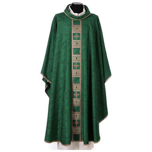 Priest chasuble in acetate viscose agremanistitch work Swarovski machine embroidery 1