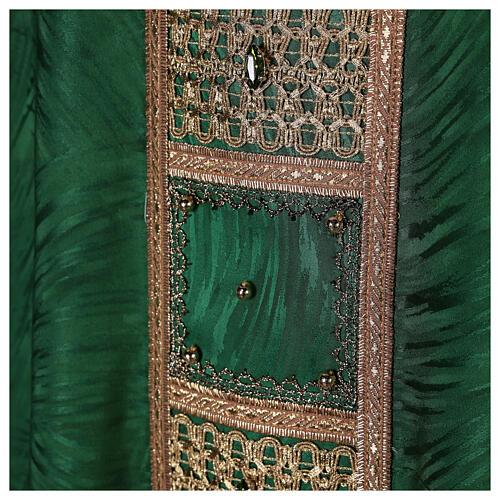 Priest chasuble in acetate viscose agremanistitch work Swarovski machine embroidery 7