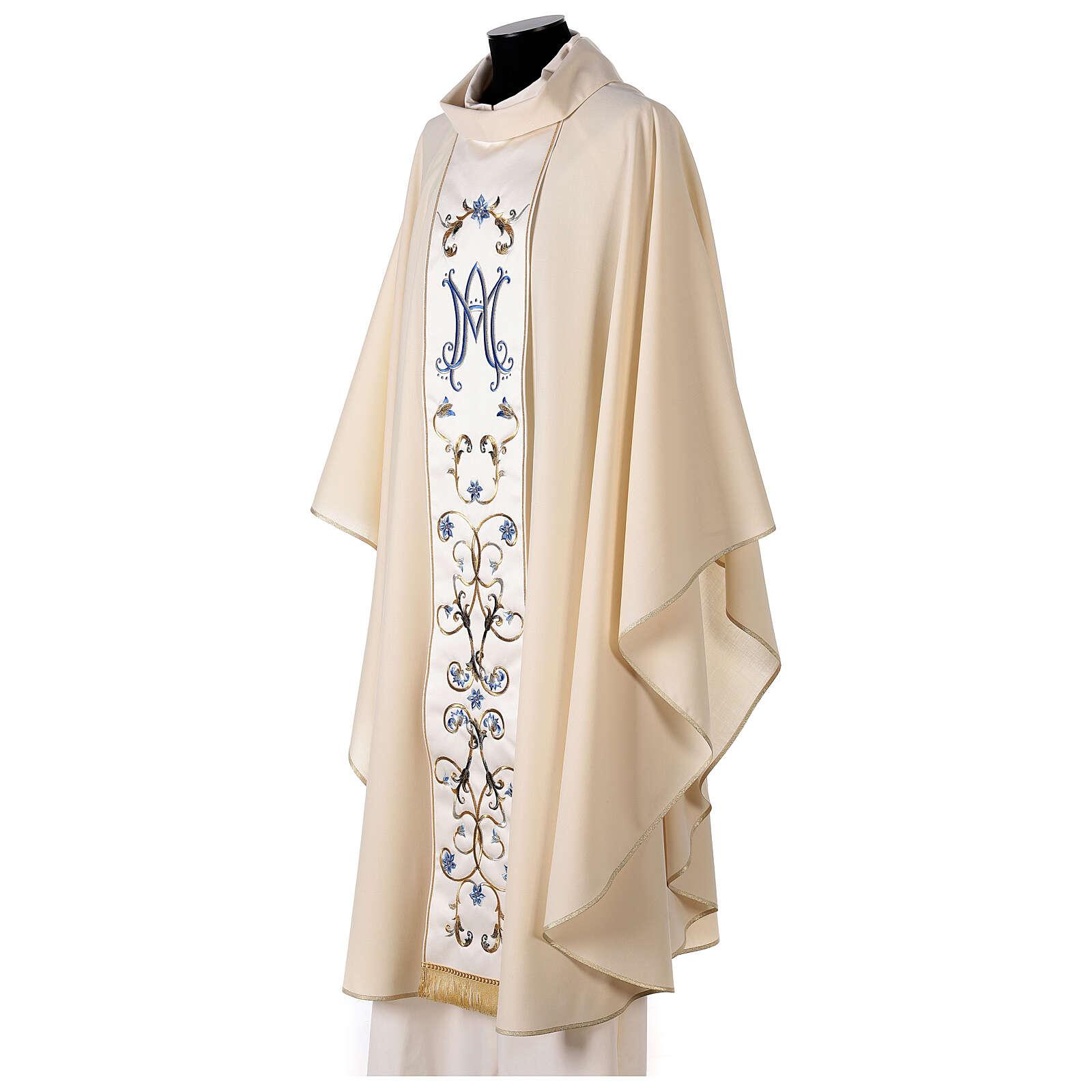 Chasuble mariale couleur ivoire fleurs bleues claires 100% laine 4