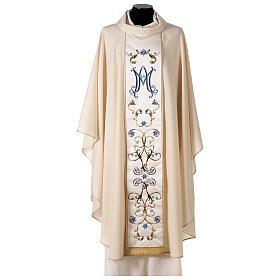 Chasuble mariale couleur ivoire fleurs bleues claires 100% laine s1